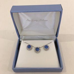 Sterling sober, sapphire blue set, NEW